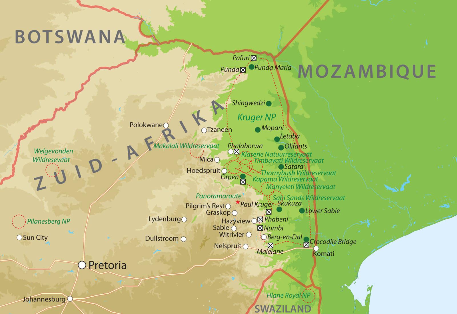zuid afrika kaart Kaart van noordelijk deel van Zuid Afrika