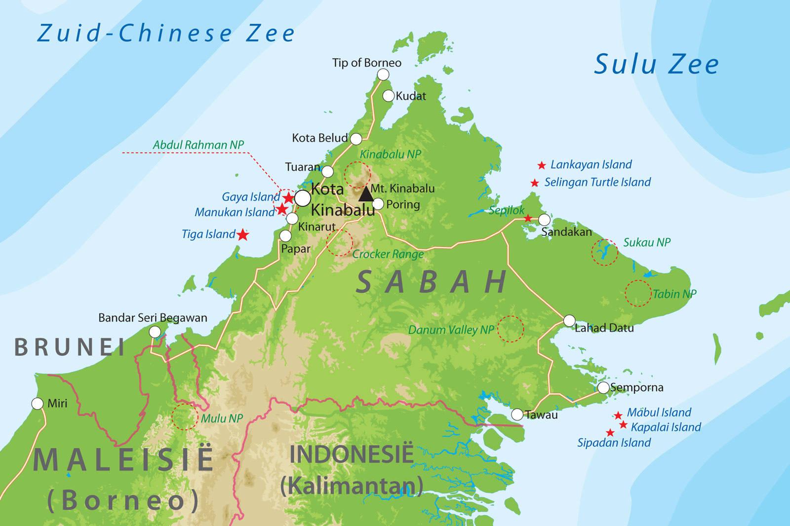 maleisië kaart De kaart van Sabah   Maleisië