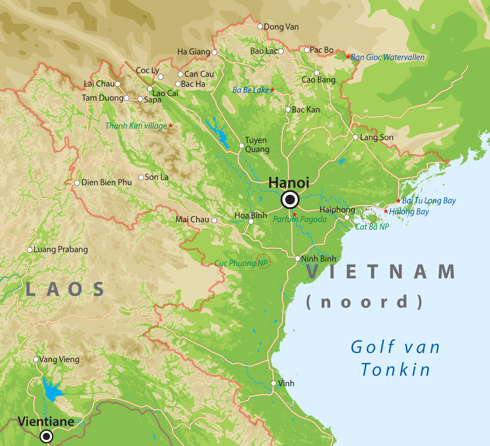 de kaart De kaart van Noord Vietnam bij Van Verre Reizen