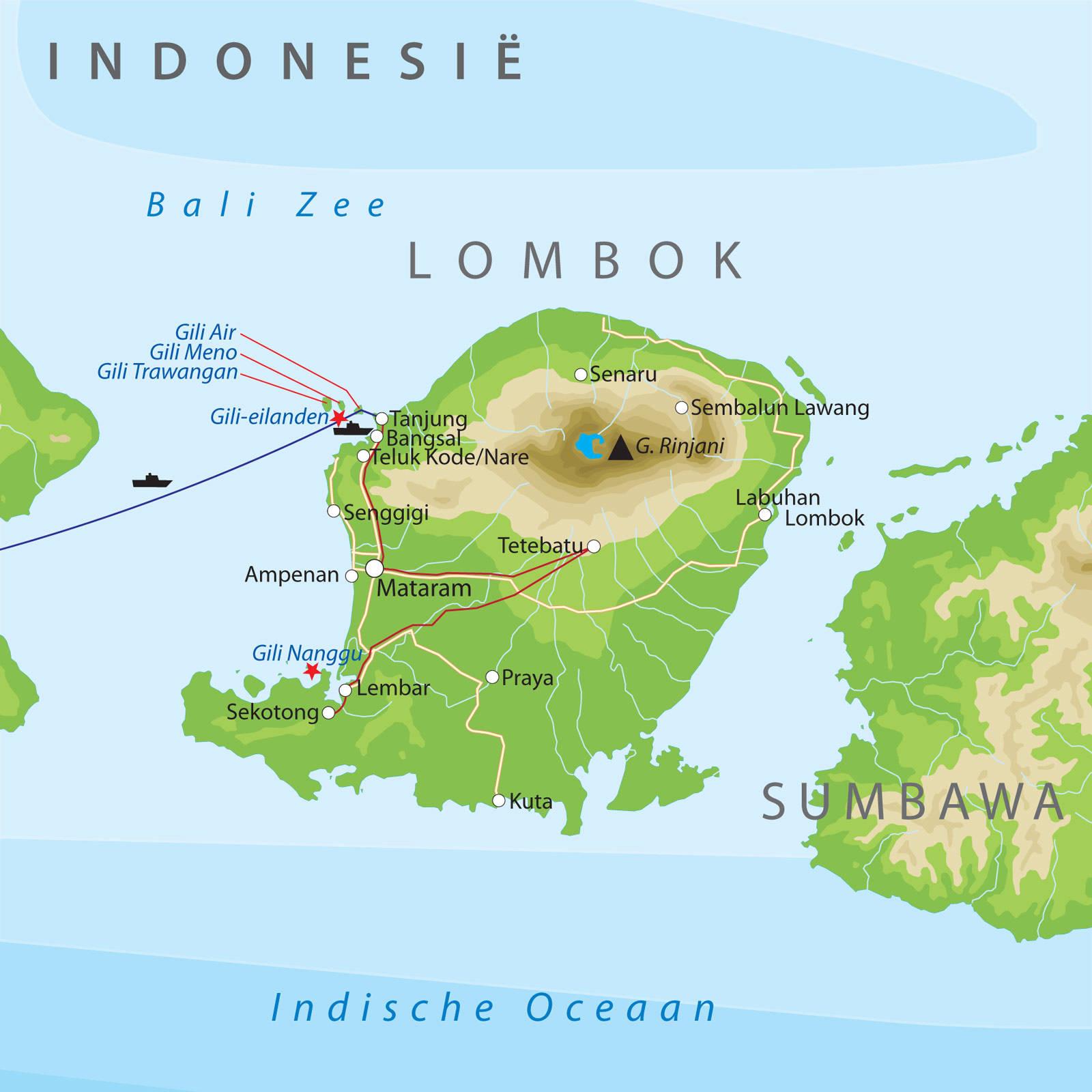 Rondreis over bali en lombok bij van verre routekaart bali en lombok altavistaventures Gallery