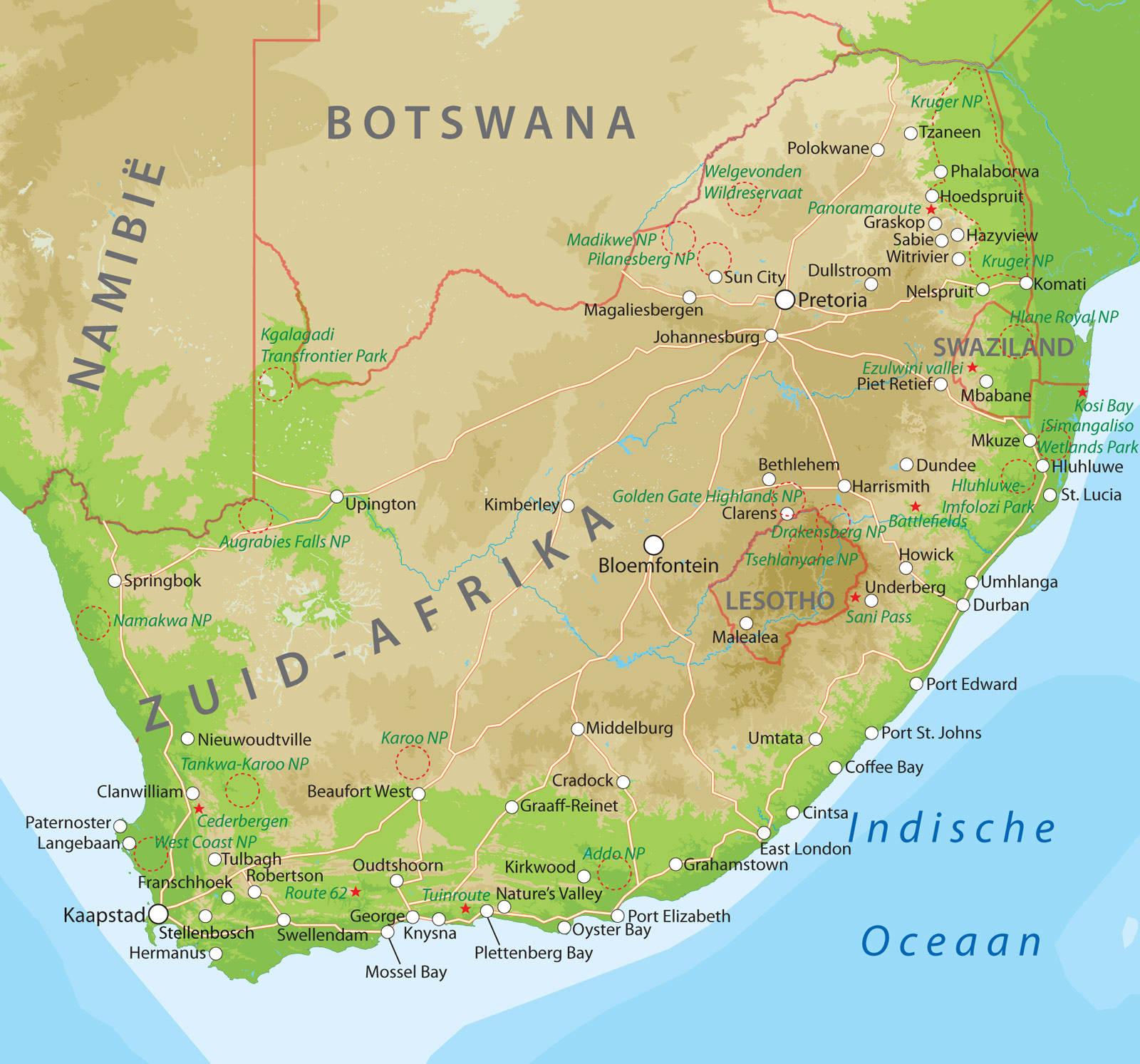 Kaart van Zuid-Afrika bij Van Verre