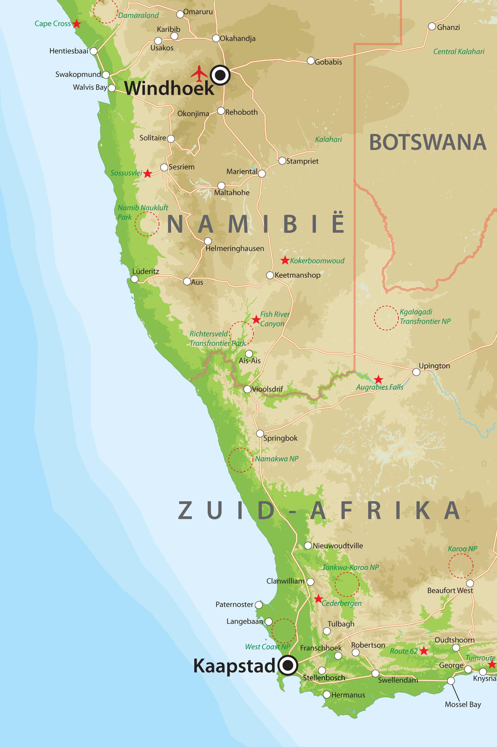 zuid afrika kaart
