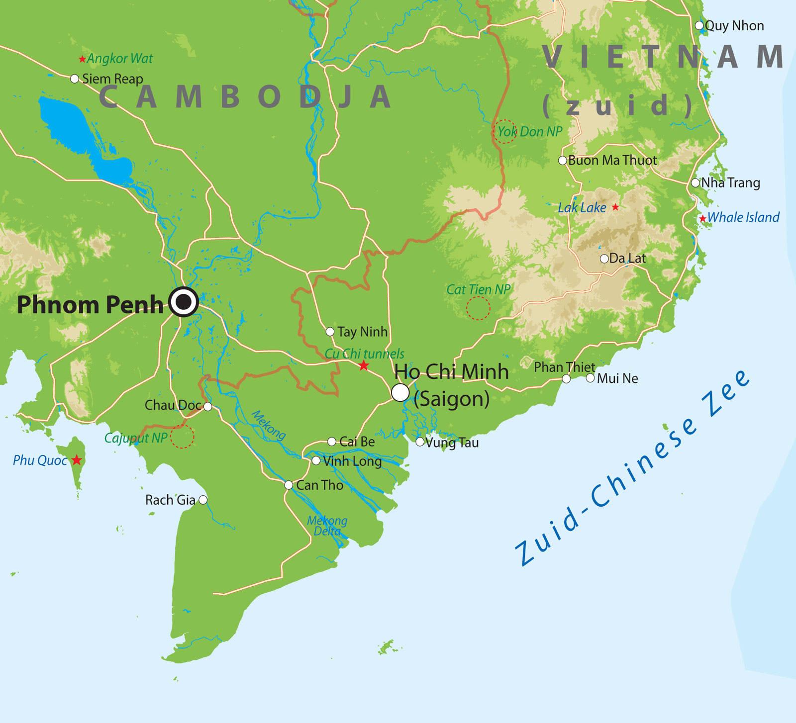 kaart vietnam Kaarten van Vietnam bij Van Verre Reizen