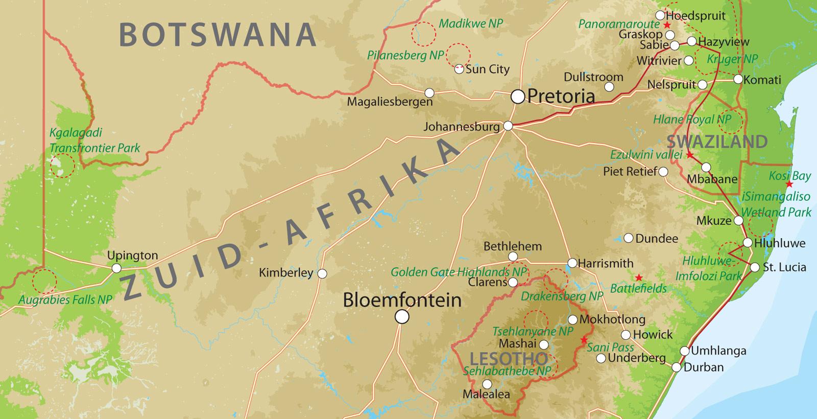 rondreis zuid afrika, kurgerpark en zululand bij van verreroutekaart safari krugerpark en zululand
